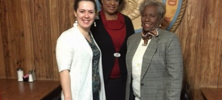 Pictured left to right:  Megan Jacobs-McIntosh County Adult Education Director for Coastal Pines Technical College, Dr. Diane J Richardson-Optimist Lt. Governor for Zone 10 (McIntosh, St. Simons, Savannah, Tybee Island), Elnora Butler-McIntosh Optimist President